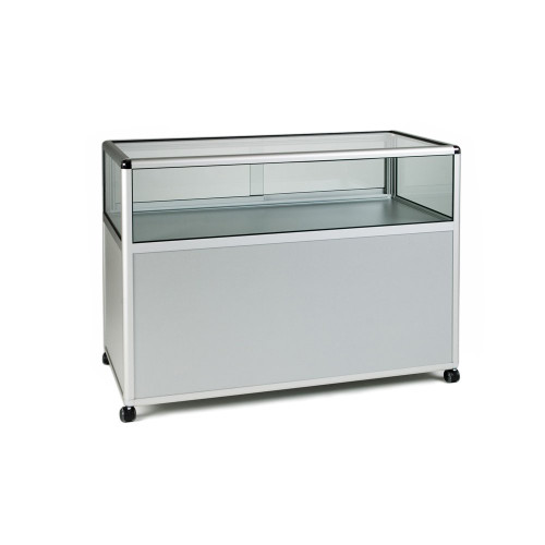 Glass Display Counter with Storage Cupboard - Contour Range