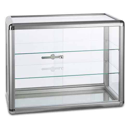 Aluminium/Glass Countertop Display Cabinet with 2 Glass Shelves and Lock