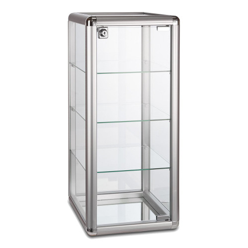 Aluminium/Glass Countertop Display Cabinet with 3 Glass Shelves and Lock