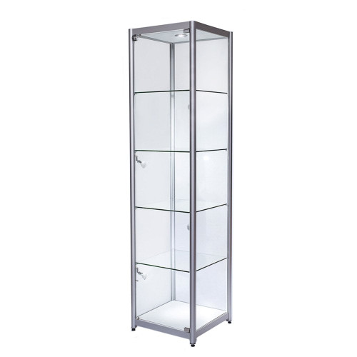 Skyline Aluminium Tower Showcase All - Glass Display with 4 Glass Shelves - Single Door