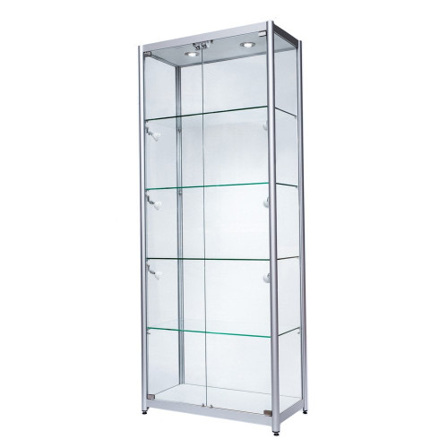 Skyline Aluminium Tower Showcase All - Glass Display with 4 Glass Shelves - Double Door