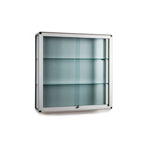 Wall Mounted Glass Display Cabinet With or Without Downlights - 2 Glass Shelves