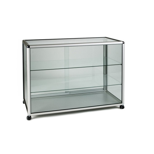 Glass Display Counter With or Without Mini Spotlights with 2 Glass Shelves - Contour Range