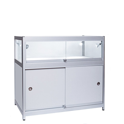 Skyline Slim Aluminium Showcase with 1/3 Glass Display and Storage Cupboard