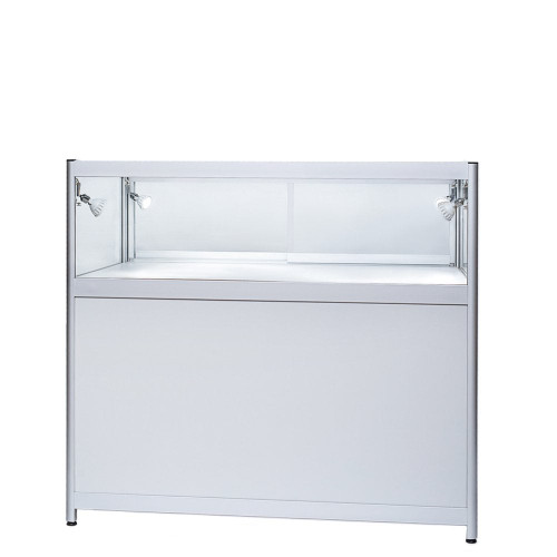 Skyline Aluminium Showcase with 1/3 Glass Display and Storage Cupboard