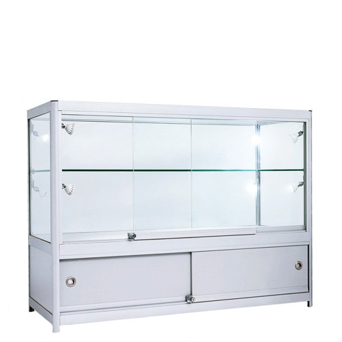 Skyline Slim Aluminium Showcase with 2/3 Glass Display and Storage Cupboard