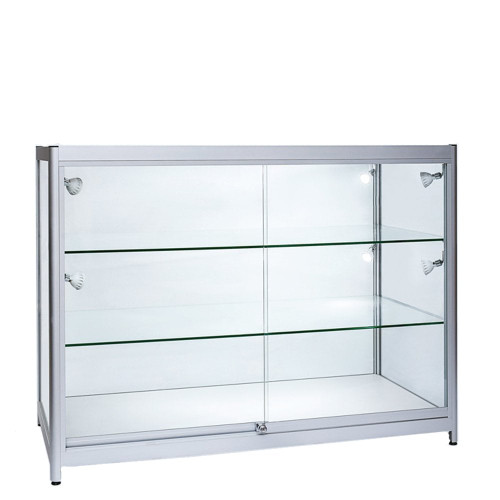 Skyline Aluminium Showcase All - Glass Display with 2 Glass Shelves