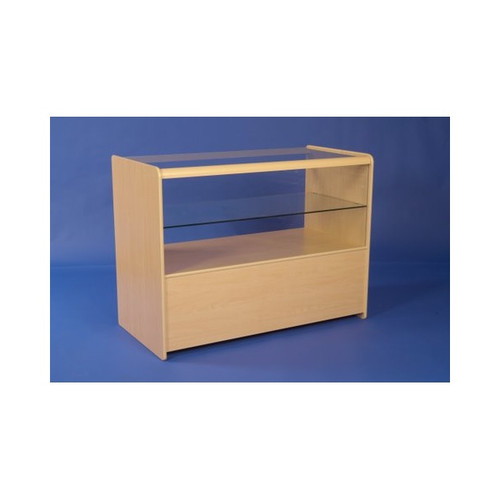 Economy Shop Counter with Glass Top, Shelf and Storage