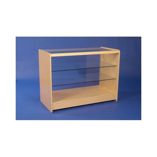 Economy Shop Counter with Glass Top and 2 Shelves