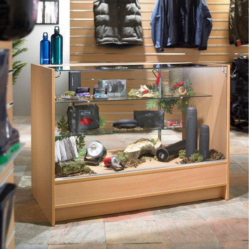 Shop Counter With Glass Top 2 Shelves and Storage - Aura Range