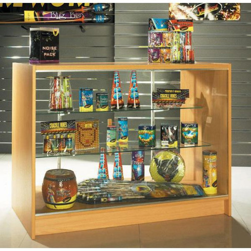 Shop Counter With MDF Top 2 Glass Shelves and Storage - Aura Range