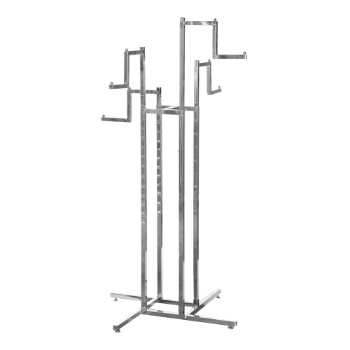 Chrome Clothes Rail Display Stand - 4 Stepped Arms