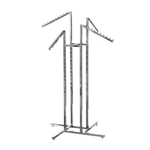 Chrome Clothes Rail Display Stand - 4 Sloping Arms