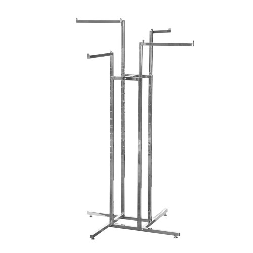 Chrome Clothes Rail Display Stand - 4 Straight Arms