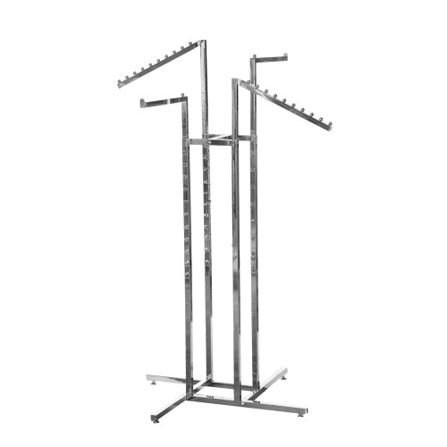 Chrome Clothes Rail Display Stand - 2 Straight & 2 Sloping Arms