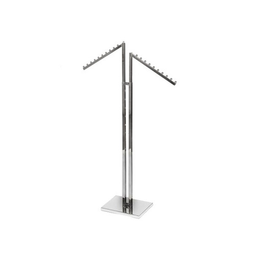 Chrome Clothes Rail Display Stand - 2 Sloping Arms
