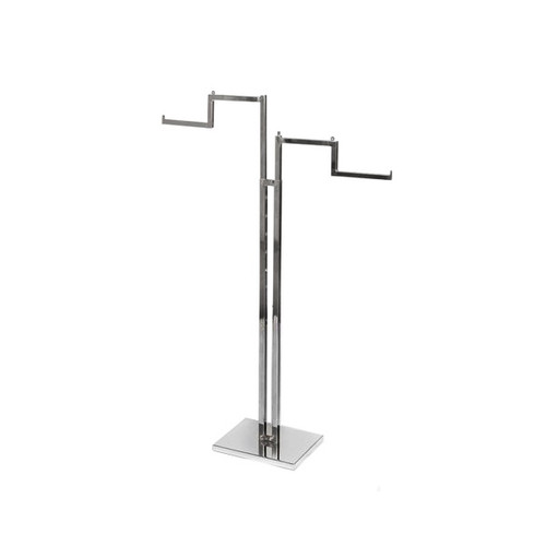 Chrome Clothes Rail Display Stand - 2 Stepped Arms