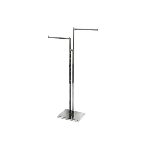 Chrome Clothes Rail Display Stand - 2 Straight Arms