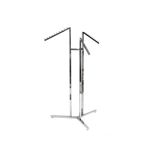 Chrome Clothes Rail Display Stand - 3 Sloping Arms