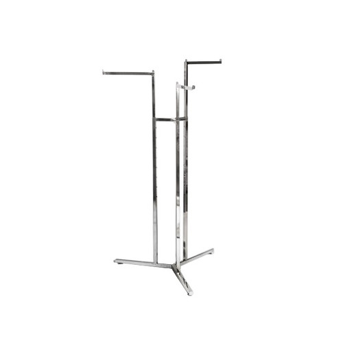 Chrome Clothes Rail Display Stand - 3 Straight Arms