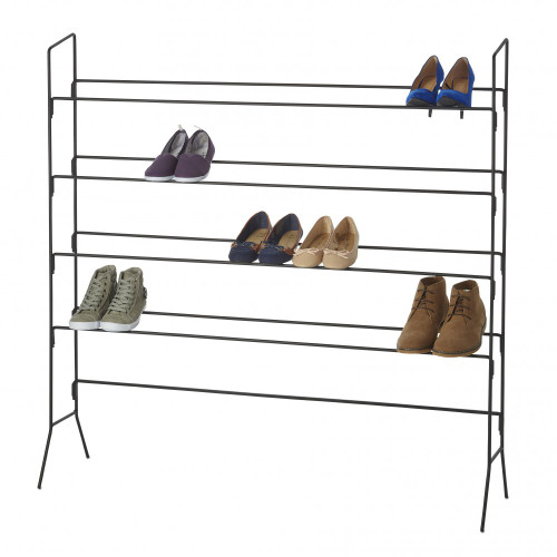 Black Heavy-Duty 4 Tier Shoe Rack - Up To 20 Pairs of Shoes
