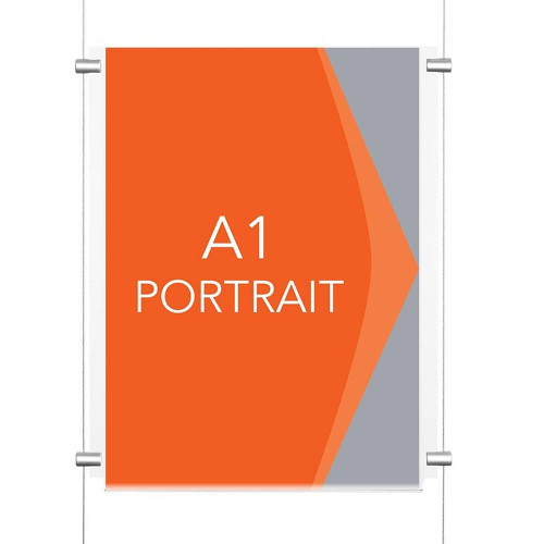 Chrome Wall-Mounted Cable Display Kit - A1 Portrait