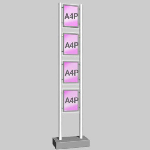 Micro-Bevelled LED Light Panel - A4 Portrait - Freestanding Display Unit - 1 Wide x 4 High