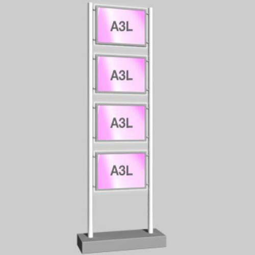 Micro-Bevelled LED Light Panel - A3 Landscape - Freestanding Display Unit - 1 Wide x 4 High