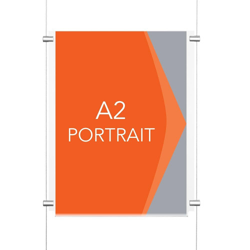 Chrome Wall-Mounted Cable Display Kit - A2 Portrait