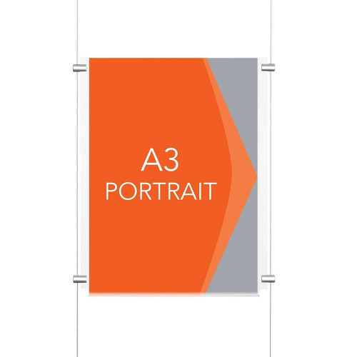 Chrome Wall-Mounted Cable Display Kit - A3 Portrait