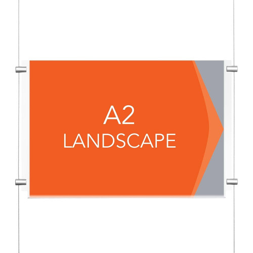 Chrome Ceiling-to-Floor Cable Display Kit - A2 Landscape
