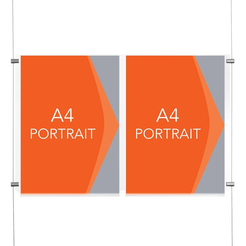 Satin Wall-Mounted Cable Display Kit - A4 Portrait - Double Pocket
