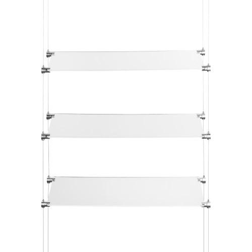 Chrome Ceiling-to-Floor Cable Shelving Kit - 3 x Shelves