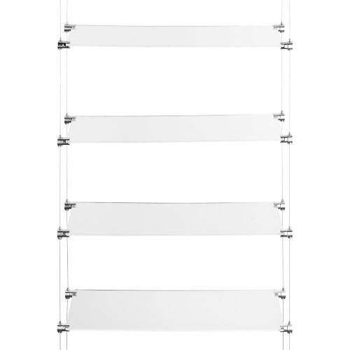 Chrome Ceiling-to-Floor Cable Shelving Kit - 4 x Shelves