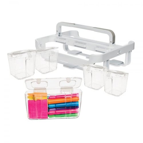 White/Clear Storage Caddy Organiser with 4 x Small and 1 x Medium Caddies