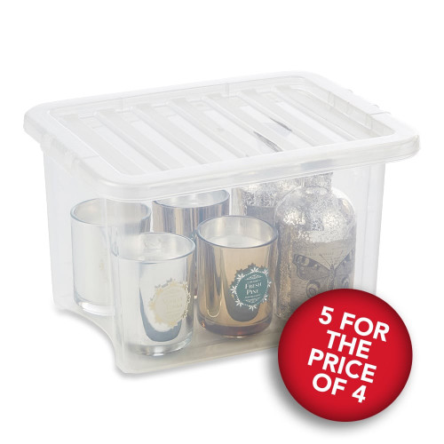 5 x 24L Clear Storage Boxes