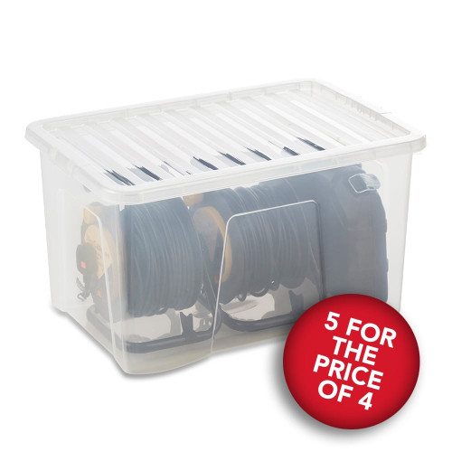 5 x 60L Clear Storage Boxes