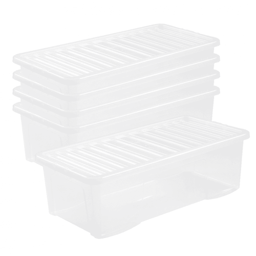 5 x 62L Clear Storage Boxes