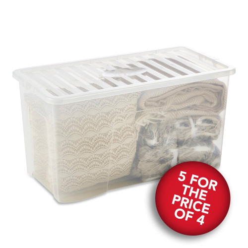 5 x 110L Clear Storage Boxes