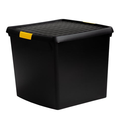 37L Black Recycled Clip Storage Box