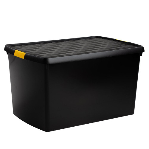 62L Black Recycled Clip Storage Box
