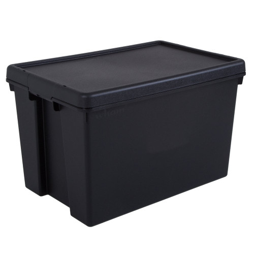 62L Black Recycled Heavy Duty Storage Box