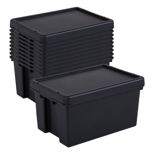 10 x 16L Black Recycled Heavy Duty Storage Boxes