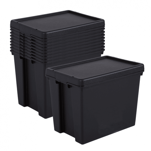 10 x 24L Black Recycled Heavy Duty Storage Boxes