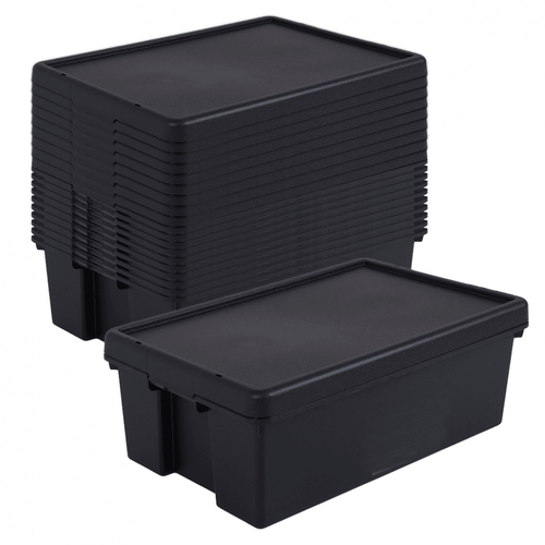 10 x 36L Black Recycled Heavy Duty Storage Boxes