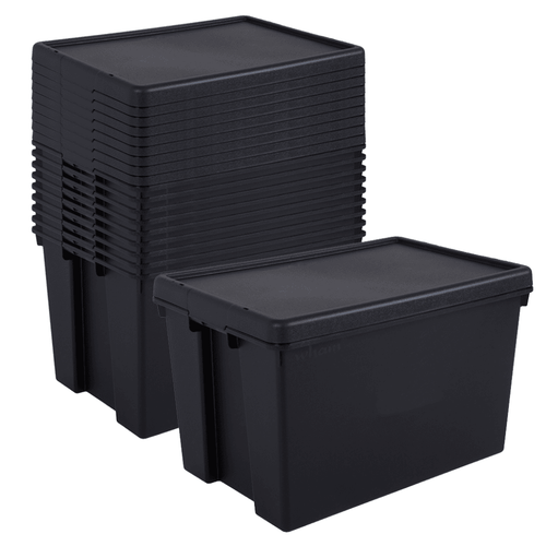 10 x 62L Black Recycled Heavy Duty Storage Boxes