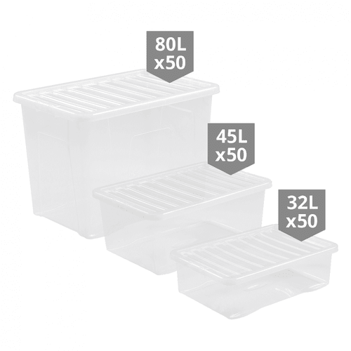 150 x Clear Storage Boxes Multipack - Mixed Sizes