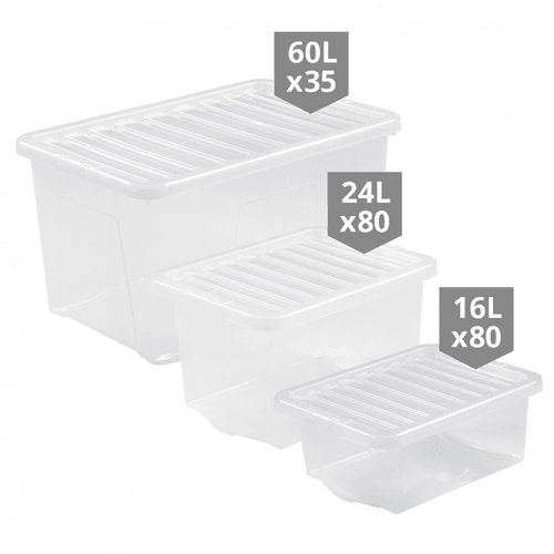 195 x Clear Storage Boxes Multipack - Mixed Sizes