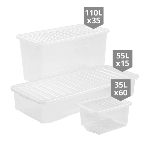 110 x Clear Storage Boxes Multipack - Mixed Sizes