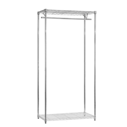 Chrome Wire Clothes Rack - 1 x Rail & 2 x Shelves - H1800 x W1200 x D450mm